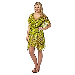 Beach Collection - Yellow palm print kaftan
