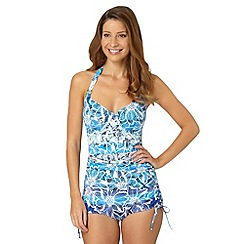 Gorgeous DD+ - Blue graphic floral tankini top