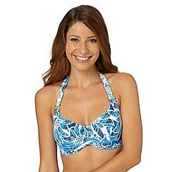 Gorgeous DD+ - Blue graphic floral bikini top