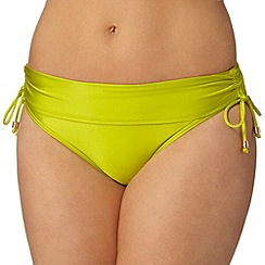 Gorgeous DD+ - Yellow palm print fold over bikini bottoms