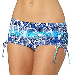 Gorgeous DD+ - Blue graphic floral high waisted bikini bottoms