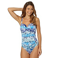 Gorgeous DD+ - Blue graphic floral underwired swimsuit