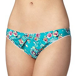 Floozie by Frost French - Green rose and heart printed bikini bottoms