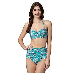Floozie by Frost French - Green rose and heart printed high waisted bikini bottoms