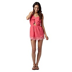 Floozie by Frost French - Bright pink crepe cutout bow front playsuit