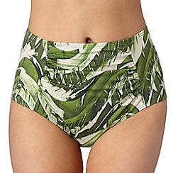 J by Jasper Conran - Designer green high waisted banana leaf bikini bottoms