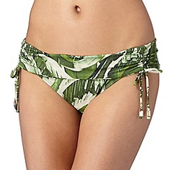 J by Jasper Conran - Designer green banana leaf folded waist bikini bottoms