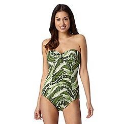 J by Jasper Conran - Designer green banana leaf tummy control bandeau swimsuit