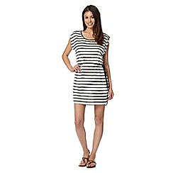 Beach Collection - White striped lace mesh dress