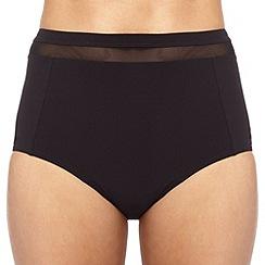 J by Jasper Conran - Designer black mesh insert high waisted bikini bottoms