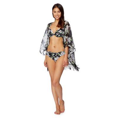Beach Collection Black blossom print fringe kimono - . -