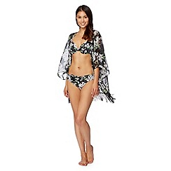 Beach Collection - Black blossom print fringe kimono
