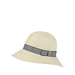 Beach Collection - Natural striped bow short brim hat