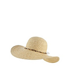 Beach Collection - Natural beaded trim floppy hat