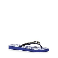 Beach Collection - Dark blue beaded snakeskin print flip flops