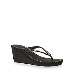 Beach Collection - Black beaded strap mid wedge sandals
