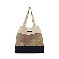 Beach Collection - Navy metallic block striped beach bag