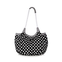 Beach Collection - Black spotted canvas beach bag