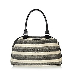 Beach Collection - Black striped woven weekender bag