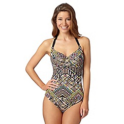 Gorgeous DD+ - Black tribal underwired tankini top