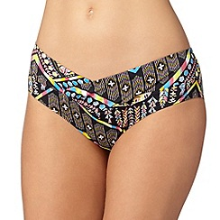 Gorgeous DD+ - Black tribal twist front bikini bottoms