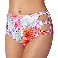 Butterfly by Matthew Williamson - White tropical floral high waisted bikini bottoms