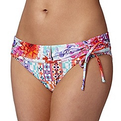 Butterfly by Matthew Williamson - Designer white tropical floral fold down bikini bottoms