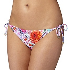 Butterfly by Matthew Williamson - Designer white tropical floral tie side bikini bottoms
