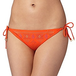 Butterfly by Matthew Williamson - Designer orange studded tie side bikini bottoms