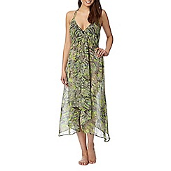Butterfly by Matthew Williamson - Designer lime reptile print chiffon midi dress
