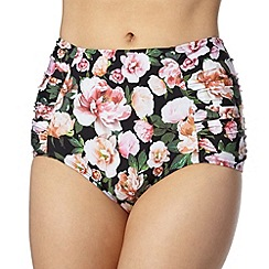 Reger by Janet Reger - Designer black graphic rose high waisted bikini bottoms