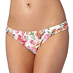 Reger by Janet Reger - Designer white graphic rose ruched hip bikini bottoms
