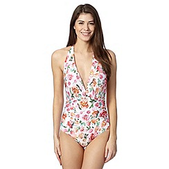 Reger by Janet Reger - Designer white graphic rose tummy control plunge swimsuit