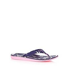 Roxy - Navy leaf print flip flops