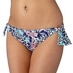 Ultimate Beach - Blue animal tropic bunny tie bikini bottoms