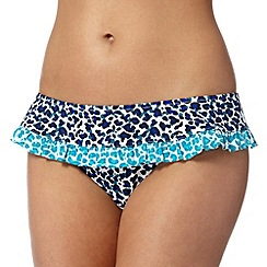 Ultimate Beach - Navy animal print frill bikini bottoms