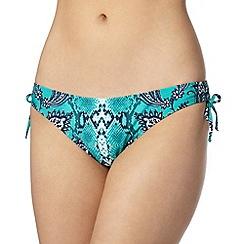 Reger by Janet Reger - Designer turquoise paisley snakeskin tie side bikini bottoms
