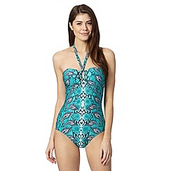 Reger by Janet Reger - Designer turquoise paisley snakeskin tummy control swimsuit