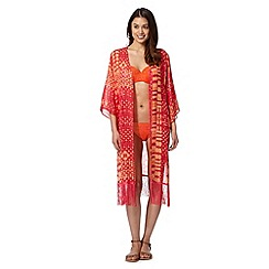 Butterfly by Matthew Williamson - Designer red fringed blurred floral detail kimono