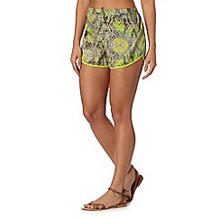 Butterfly by Matthew Williamson - Designer lime reptile print shorts