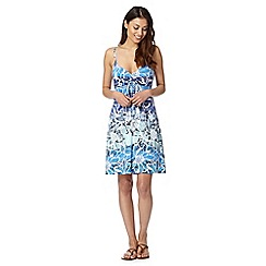 Gorgeous DD+ - Blue graphic floral jersey dress