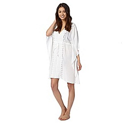 Beach Collection - White plain embroidered kaftan
