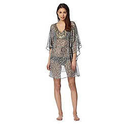 Beach Collection - White embellished zebra kaftan