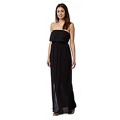 Beach Collection - Black daisy embroidered maxi beach dress