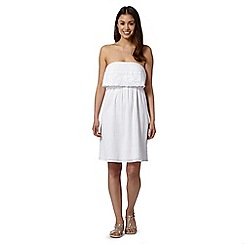 Beach Collection - White daisy embroidered beach dress