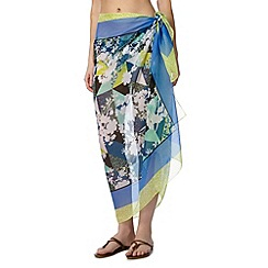 Beach Collection - Green floral border sarong