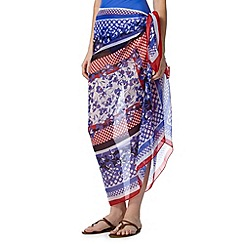 Beach Collection - Purple border floral sarong