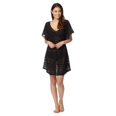 Beach Collection Black crochet lace kaftan - . -