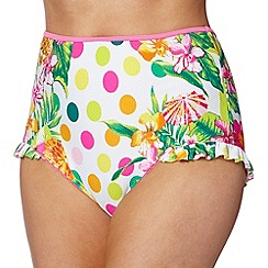 Floozie by Frost French - Pink tropicana spot high waisted bikini bottoms