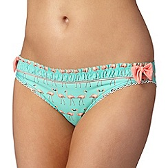 Floozie by Frost French - Green flamingos bow bikini bottoms